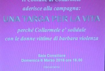 Il Comune di Collarmele  aderisce alla campagna  UNA TARGA PER LA VITA 6 Marzo 2016